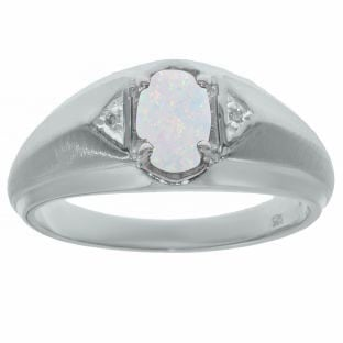 Opal & Diamond Men's White Gold Oval Ring