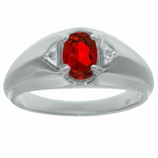 Ruby & Diamond Men's White Gold Oval Ring