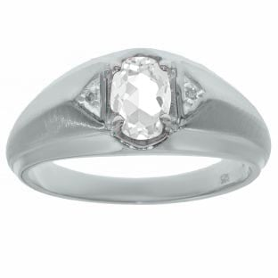 White Topaz & Diamond Men's White Gold Oval Ring