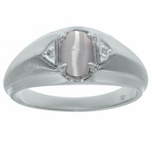 Sterling Silver Diamond & Light Grey Cat Eye Ring For Men
