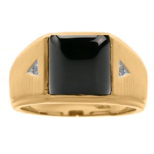 Square Black Onyx and Diamond Ring In Yellow Gold For Men