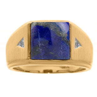 Square Lapis and Diamond Ring In Yellow Gold For Men