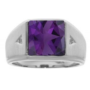 Square Amethyst and Diamond Ring In Sterling Silver For Men