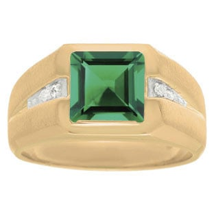 Diamond and Yellow Gold Men's Square Cut Emerald Ring