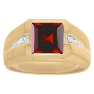 Diamond and Yellow Gold Men's Square Cut Garnet Ring