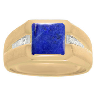 Diamond and Yellow Gold Men's Square Cut Lapis Lazuli Ring