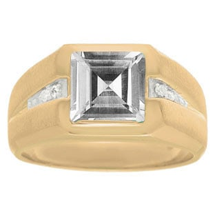 Diamond and Yellow Gold Men's Square Cut White Topaz Ring