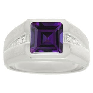 Diamond and Sterling Silver Men's Square Cut Amethyst Ring