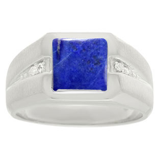 Diamond and Sterling Silver Men's Square Cut Lapis Lazuli Ring