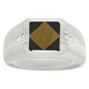 Diamond and Sterling Silver Men's Square Cut Tiger Eye Onyx Ring