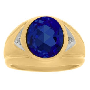 Sapphire Ring - Men's Diamond and Sapphire Yellow Gold Ring