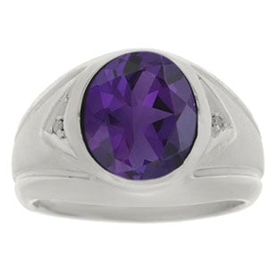 Amethyst Ring - Men's Diamond and Amethyst White Gold Ring