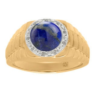Men's Diamond and Blue Lapis Ring in Yellow Gold