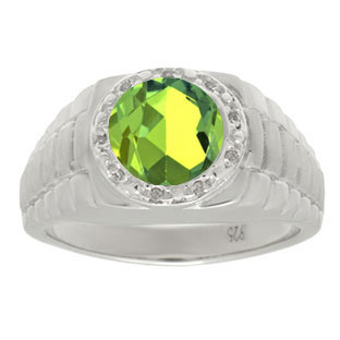 Men's Diamond and Peridot Ring in White Gold