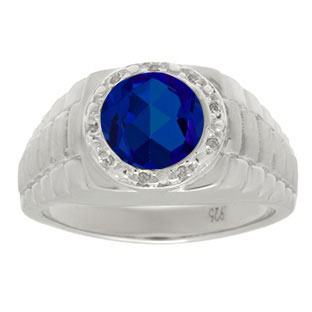 Men's Diamond and Sapphire Ring in White Gold