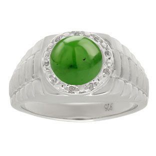 Men's Diamond and Jade Ring in Sterling Silver