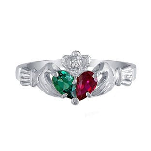 Personalized Sterling Silver Diamond Birthstone Claddagh Ring