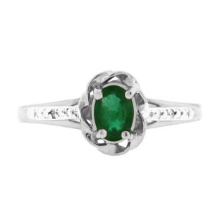 Sterling Silver Diamond Oval Emerald May Birthstone Ring