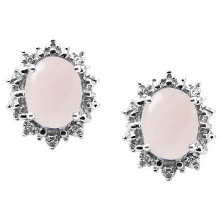 Diamond Oval Rose Quartz Gemstone Sterling Silver Starburst Earrings