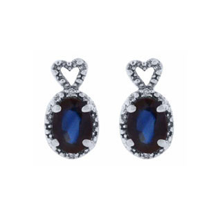 Diamond Oval Sapphire September Gemstone Sterling Silver Earrings