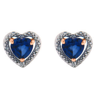 Diamond Sapphire Heart Shaped Stud Rose Gold Earrings