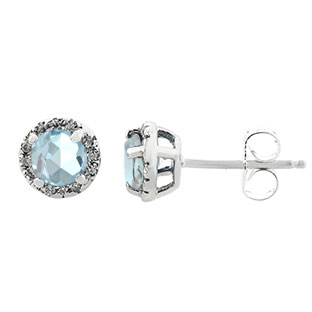 Aquamarine Gemstone Diamond Halo Stud Earrings In Sterling Silver