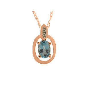 Rose Gold Oval-Cut Blue Topaz and Diamond Pendant