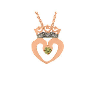 Peridot and Crown Diamond Heart Pendant in Rose Gold