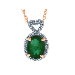 Diamond Oval Emerald May Gemstone Rose Gold Pendant