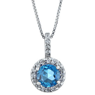 Halo Jewelry - Blue Topaz Birthstone Diamond Halo Pendant In Sterling Silver