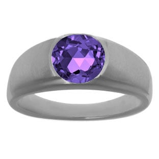 Men's Black Rhodium Plated White Gold Rings - Round Cut Amethyst Man Ring