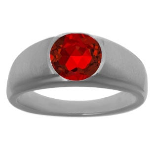 Men's Black Rhodium Plated White Gold Rings - Round Cut Ruby Man Ring