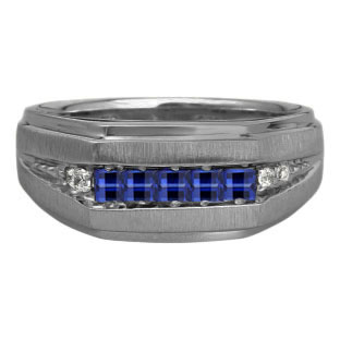 Men's Blue Sapphire and Diamond Black Rhodium Plated White Gold Ring