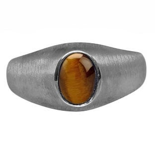 Black Rhodium Plated White Gold Pinky Ring For Men Oval Tiger Eye Gemstone