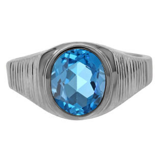 Men's Oval-Cut Blue Topaz Simple Ring In Black Rhodium Plated White Gold
