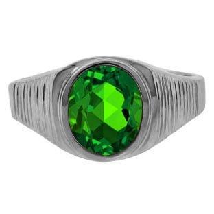 Men's Oval-Cut Emerald Simple Ring In Black Rhodium Plated White Gold