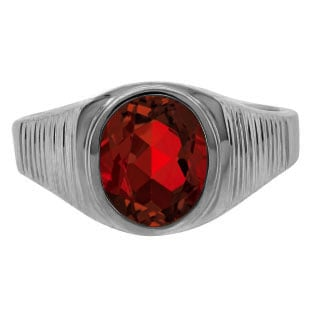 Men's Oval-Cut Garnet Simple Ring In Black Rhodium Plated White Gold