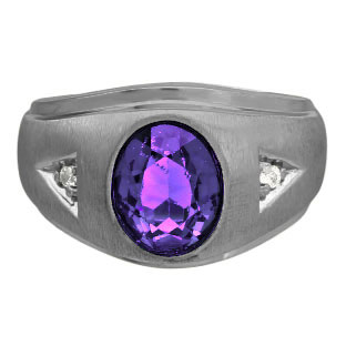 Diamond and Oval Amethyst Gemstone Men's Black Rhodium Plated White Gold Ring