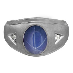 Diamond and Oval Blue Star Sapphire Gemstone Men's Black Rhodium Plated White Go