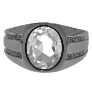 Oval-Cut White Topaz Men's Ring In Black Rhodium Plated White Gold