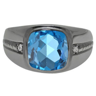 Cushion-Cut Blue Topaz Gemstone Men's Ring In Black Rhodium Plated White Gold