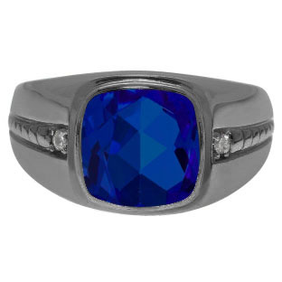 Cushion-Cut Sapphire Gemstone Men's Ring In Black Rhodium Plated White Gold