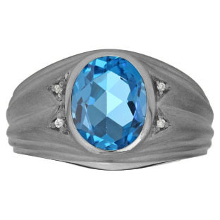 Oval Blue Topaz Birthstone Diamond Men's Ring In Black Rhodium Plated White Gold