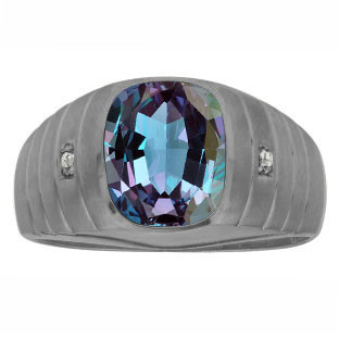 Diamond Cushion Alexandrite Stone Men's Ring In Black Gold By Gemologica