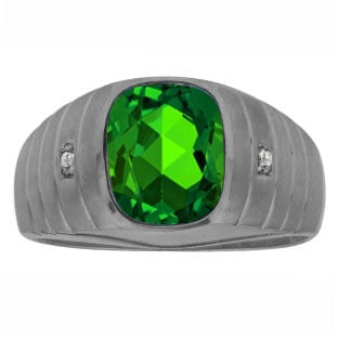 Diamond Cushion Emerald Stone Men's Ring In Black Rhodium Plated White Gold