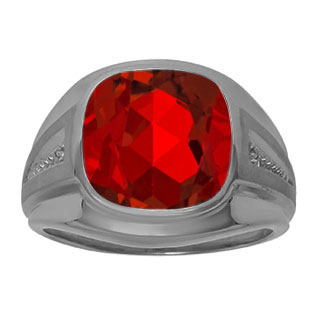 Diamond Red Ruby Men's Large Ring In Black Rhodium Plated White Gold