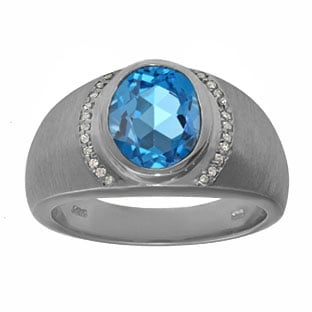 Men's Oval-Cut Blue Topaz Diamond Ring In Black Rhodium Plated White Gold