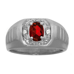 Diamond Black Rhodium Plated White Gold Men's Garnet Ring