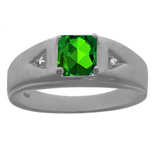Diamond Princess Cut Emerald Mens Ring In Black Rhodium Plated White Gold