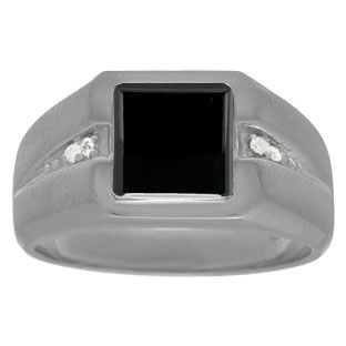 Diamond Black Rhodium Plated White Gold Men's Square Cut Black Onyx Ring